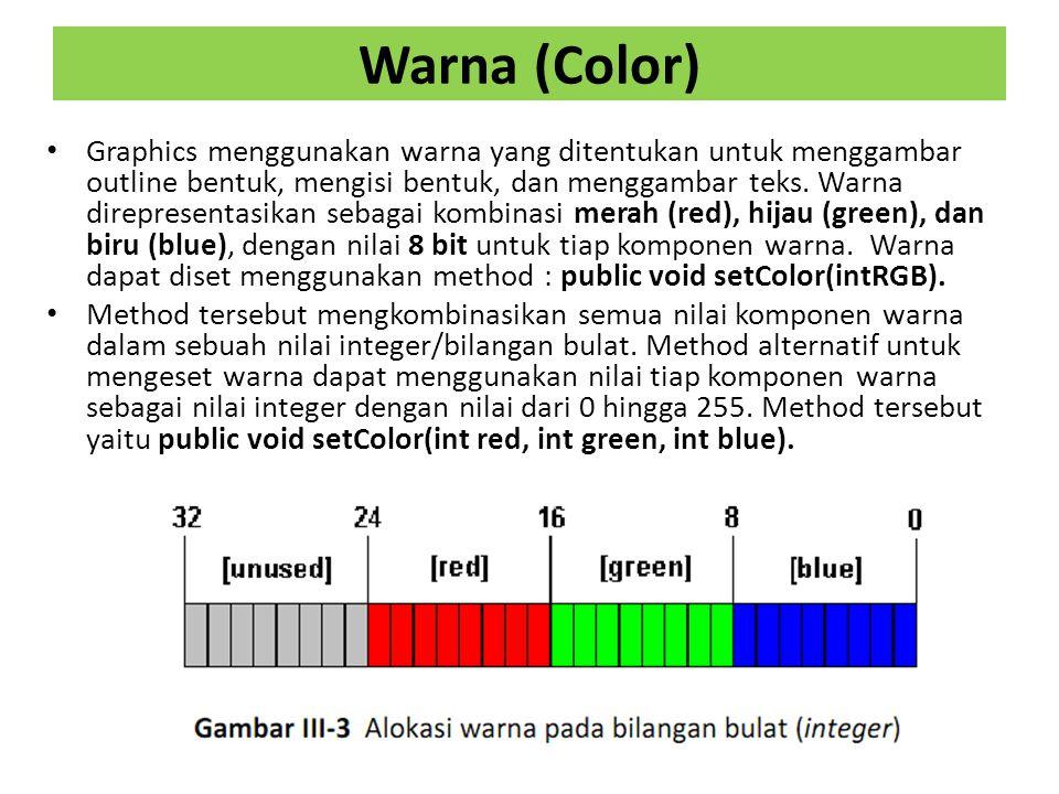 Warna (Color) Graphics menggunakan warna yang ditentukan untuk menggambar outline bentuk, mengisi bentuk, dan menggambar teks.