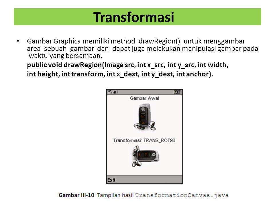 Transformasi Gambar Graphics memiliki method drawRegion() untuk menggambar area sebuah gambar dan dapat juga melakukan manipulasi gambar pada waktu yang bersamaan.