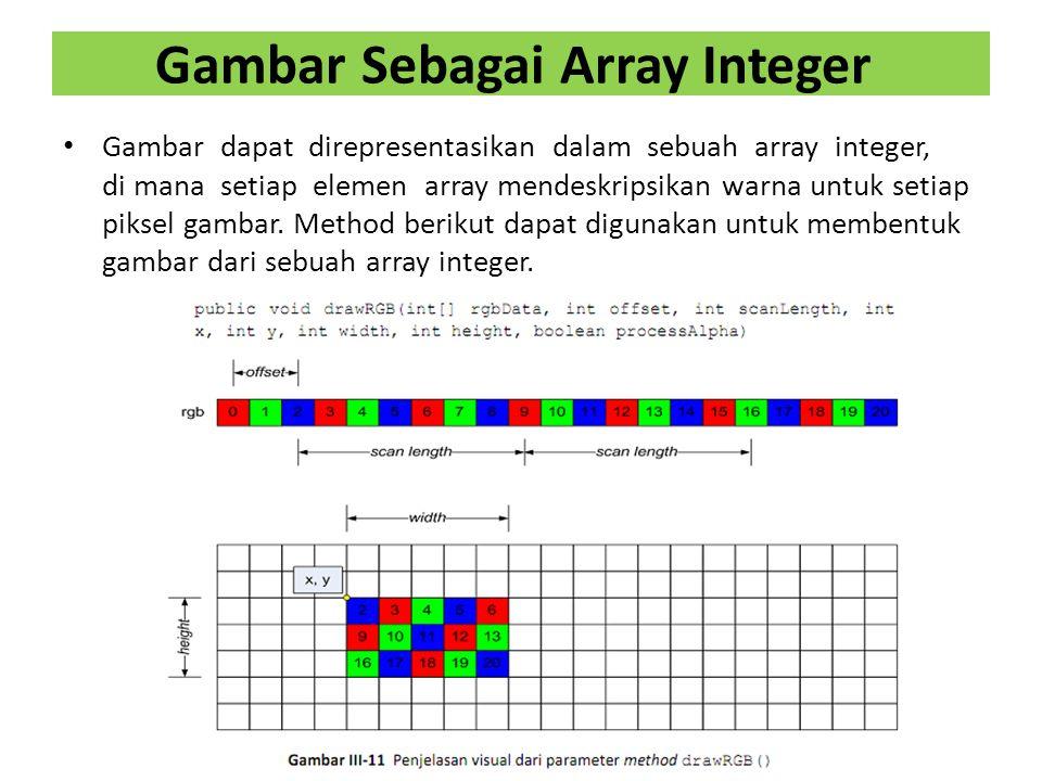 Gambar Sebagai Array Integer Gambar dapat direpresentasikan dalam sebuah array integer, di mana setiap elemen array mendeskripsikan warna untuk setiap piksel gambar.