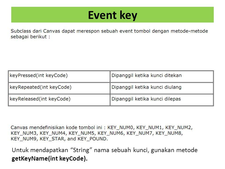 Event key Untuk mendapatkan String nama sebuah kunci, gunakan metode getKeyName(int keyCode).