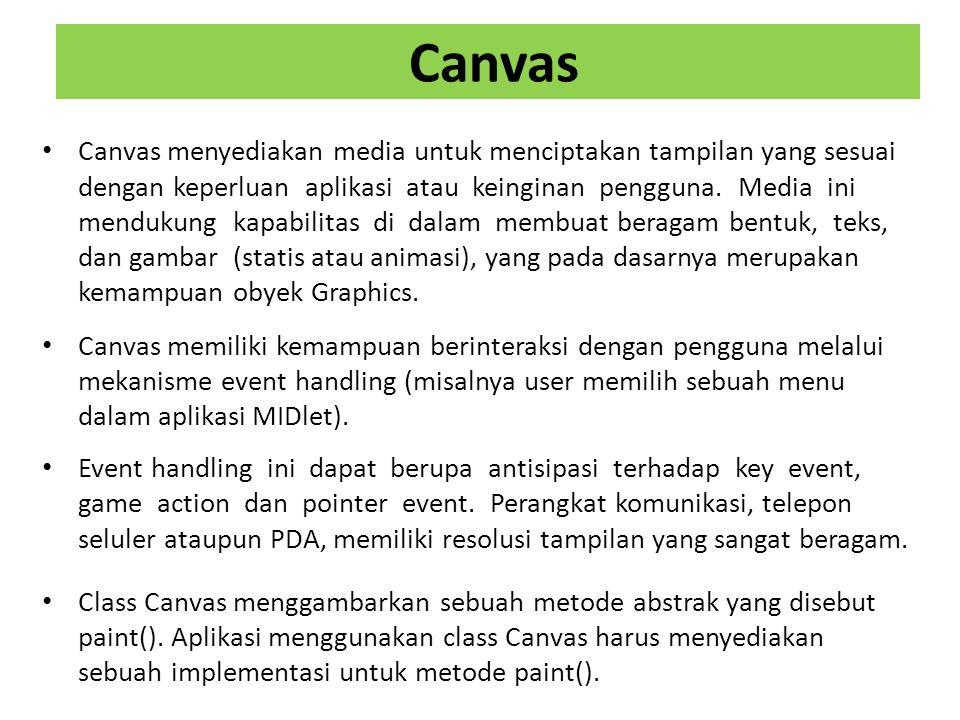 Canvas Canvas menyediakan media untuk menciptakan tampilan yang sesuai dengan keperluan aplikasi atau keinginan pengguna.