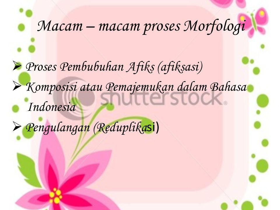 Macam – macam proses Morfologi  Proses Pembubuhan Afiks (afiksasi)  Komposisi atau Pemajemukan dalam Bahasa Indonesia  Pengulangan (Reduplika si)