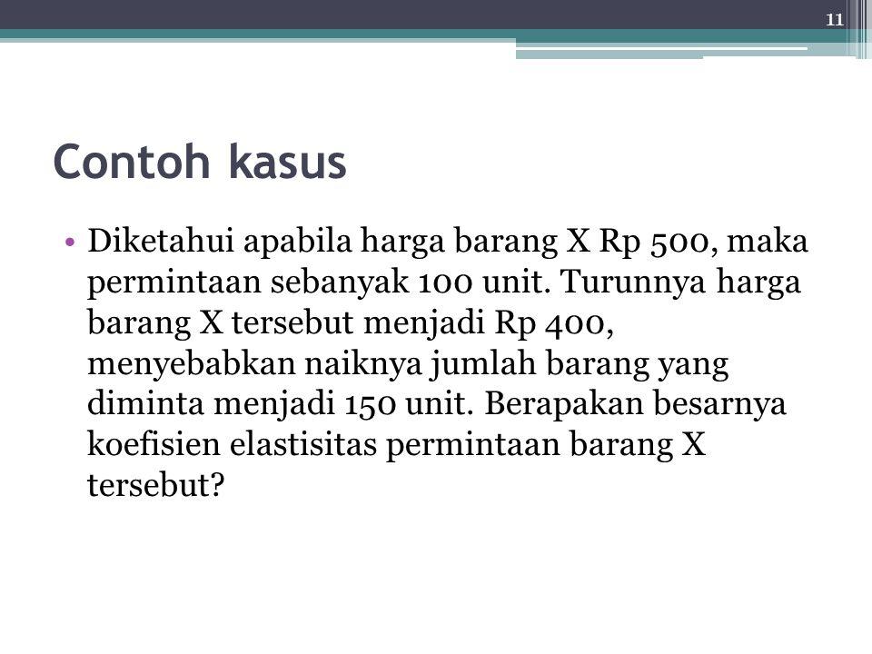 11 Contoh kasus Diketahui apabila harga barang X Rp 500, maka permintaan sebanyak 100 unit.