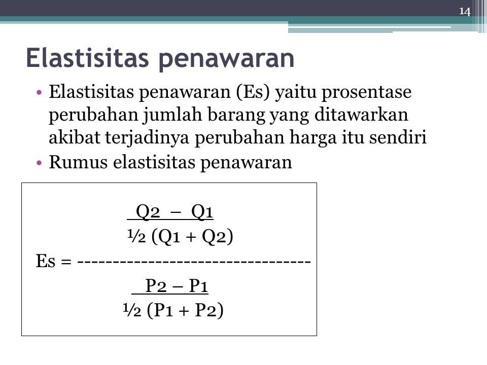 14 Elastisitas penawaran Elastisitas penawaran (Es) yaitu prosentase perubahan jumlah barang yang ditawarkan akibat terjadinya perubahan harga itu sendiri Rumus elastisitas penawaran Q2 – Q1 ½ (Q1 + Q2) Es = --------------------------------- P2 – P1 ½ (P1 + P2)