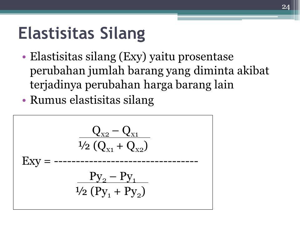 24 Elastisitas Silang Elastisitas silang (Exy) yaitu prosentase perubahan jumlah barang yang diminta akibat terjadinya perubahan harga barang lain Rumus elastisitas silang Q x2 – Q x1 ½ (Q x1 + Q x2 ) Exy = --------------------------------- Py 2 – Py 1 ½ (Py 1 + Py 2 )