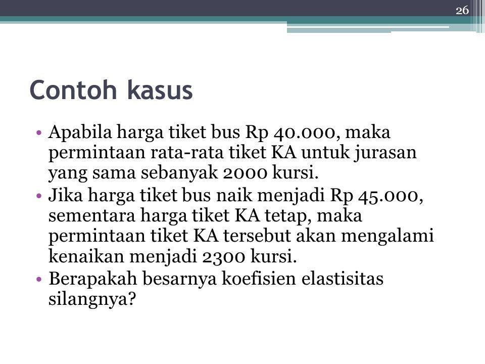 26 Contoh kasus Apabila harga tiket bus Rp 40.000, maka permintaan rata-rata tiket KA untuk jurasan yang sama sebanyak 2000 kursi.