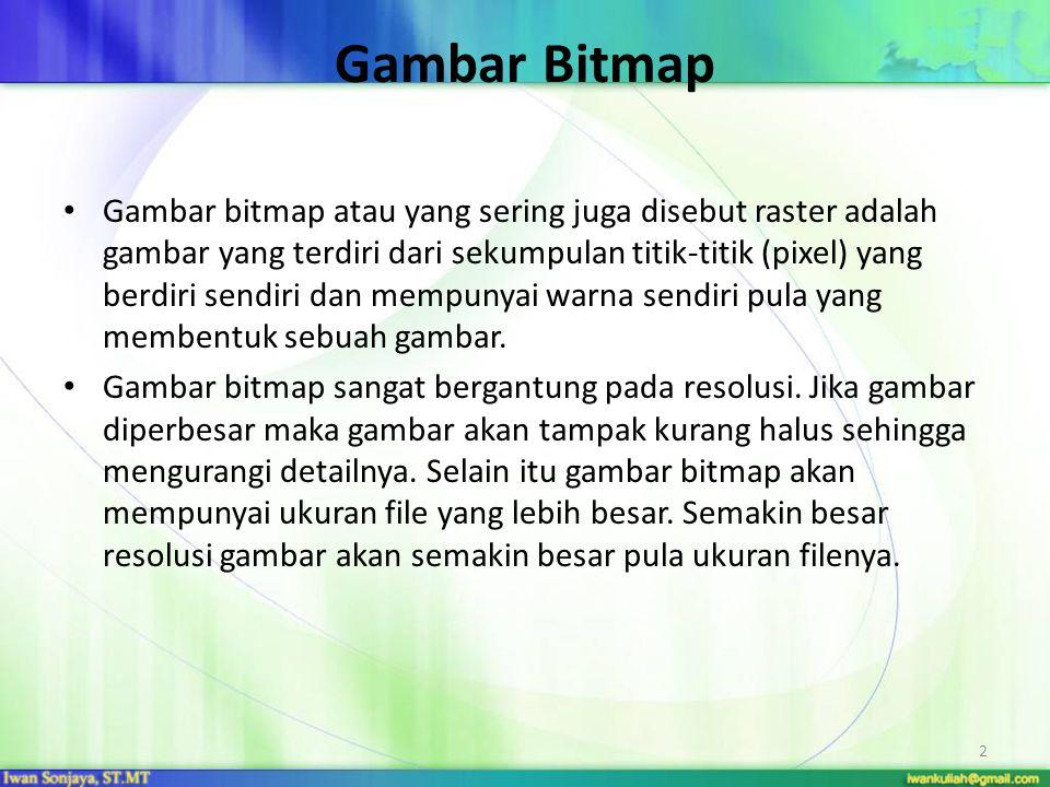 Gambar Bitmap Gambar bitmap atau yang sering juga disebut raster adalah gambar yang terdiri dari sekumpulan titik-titik (pixel) yang berdiri sendiri d