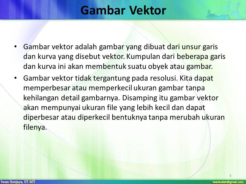 Gambar Vektor Gambar vektor adalah gambar yang dibuat dari unsur garis dan kurva yang disebut vektor. Kumpulan dari beberapa garis dan kurva ini akan