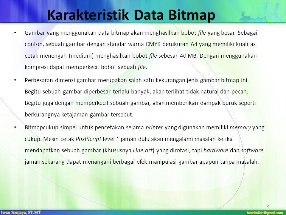 Karakteristik Data Bitmap Gambar yang menggunakan data bitmap akan menghasilkan bobot file yang besar. Sebagai contoh, sebuah gambar dengan standar wa