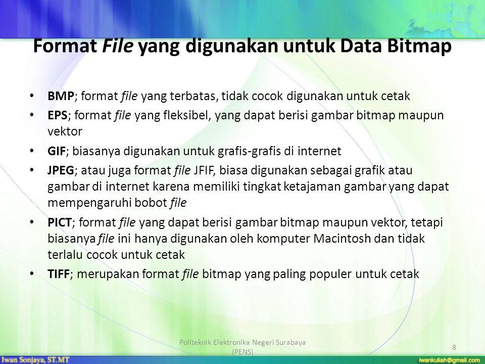 Format File yang digunakan untuk Data Bitmap BMP; format file yang terbatas, tidak cocok digunakan untuk cetak EPS; format file yang fleksibel, yang d