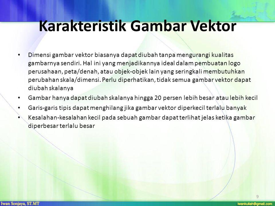 Karakteristik Gambar Vektor Dimensi gambar vektor biasanya dapat diubah tanpa mengurangi kualitas gambarnya sendiri. Hal ini yang menjadikannya ideal