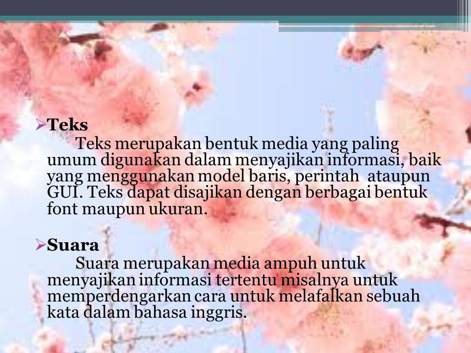  Teks Teks merupakan bentuk media yang paling umum digunakan dalam menyajikan informasi, baik yang menggunakan model baris, perintah ataupun GUI.