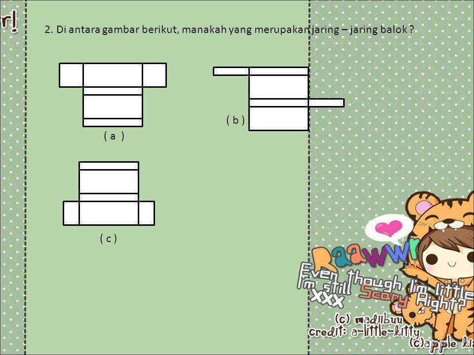 2. Di antara gambar berikut, manakah yang merupakan jaring – jaring balok ? ( a ) ( b ) ( c )
