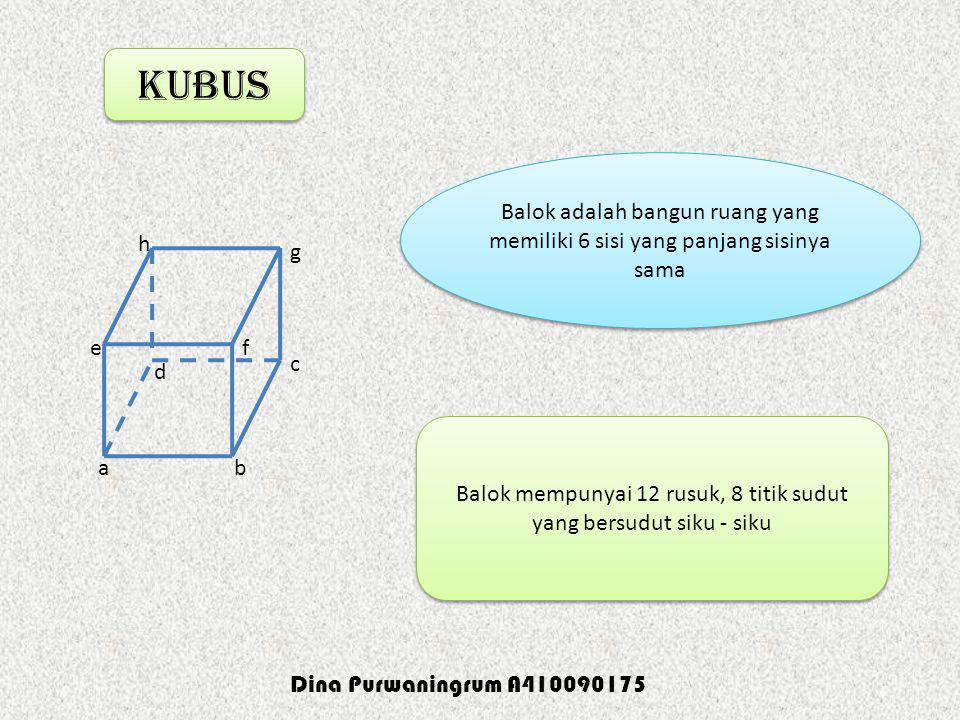 kubus ab c d ef g h Balok adalah bangun ruang yang memiliki 6 sisi yang panjang sisinya sama Balok adalah bangun ruang yang memiliki 6 sisi yang panja