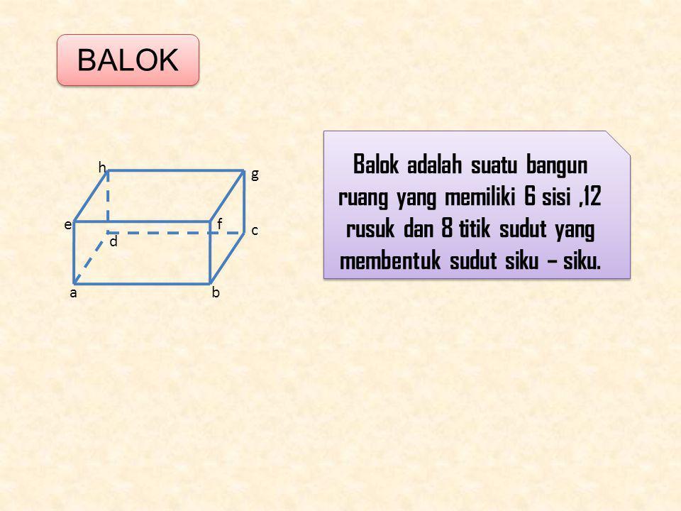 BALOK ab c d ef g h Balok adalah suatu bangun ruang yang memiliki 6 sisi,12 rusuk dan 8 titik sudut yang membentuk sudut siku – siku.