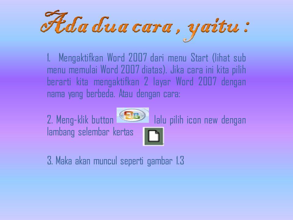 1. Mengaktifkan Word 2007 dari menu Start (lihat sub menu memulai Word 2007 diatas).