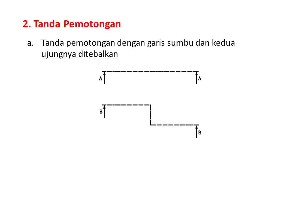 2. Tanda Pemotongan a.Tanda pemotongan dengan garis sumbu dan kedua ujungnya ditebalkan