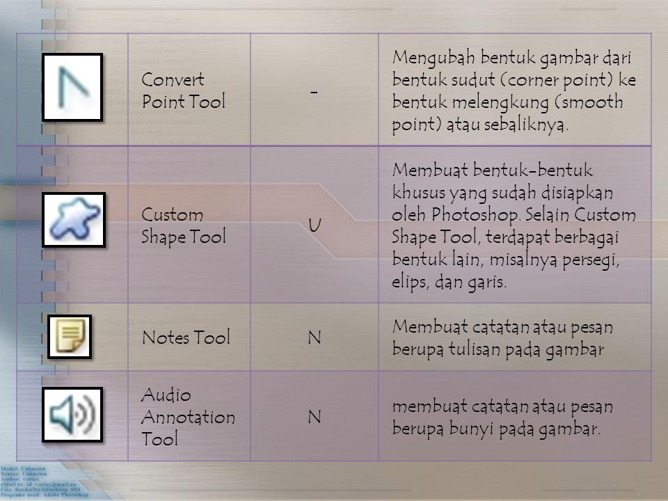 Convert Point Tool - Mengubah bentuk gambar dari bentuk sudut (corner point) ke bentuk melengkung (smooth point) atau sebaliknya. Custom Shape Tool U