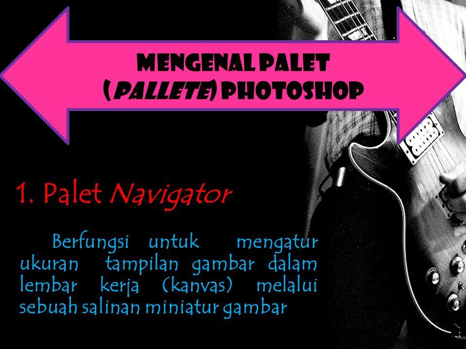 1. Palet Navigator Berfungsi untuk mengatur ukuran tampilan gambar dalam lembar kerja (kanvas) melalui sebuah salinan miniatur gambar Mengenal Palet (
