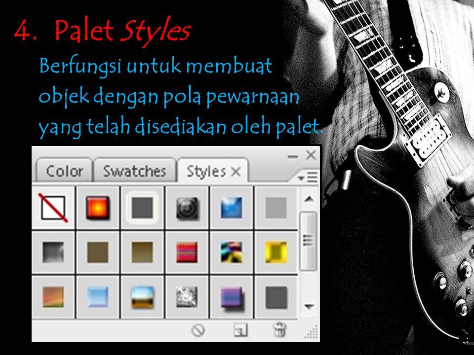4. Palet Styles Berfungsi untuk membuat objek dengan pola pewarnaan yang telah disediakan oleh palet.