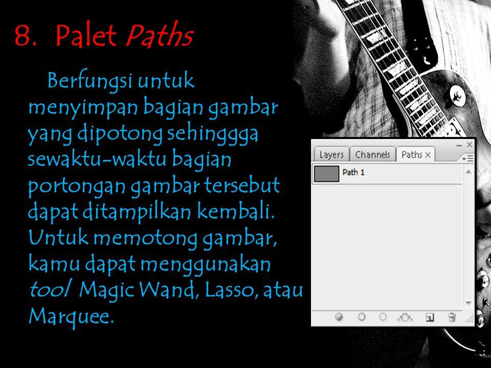 8. Palet Paths Berfungsi untuk menyimpan bagian gambar yang dipotong sehinggga sewaktu-waktu bagian portongan gambar tersebut dapat ditampilkan kembal