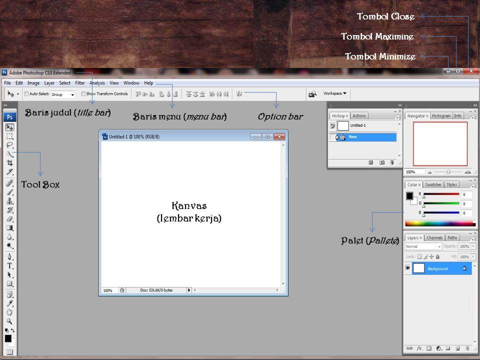 Baris judul (title bar) Baris menu (menu bar) Tool Box Option bar Palet (Pallete) Tombol Close Tombol Maximine Tombol Minimize Kanvas (lembar kerja)