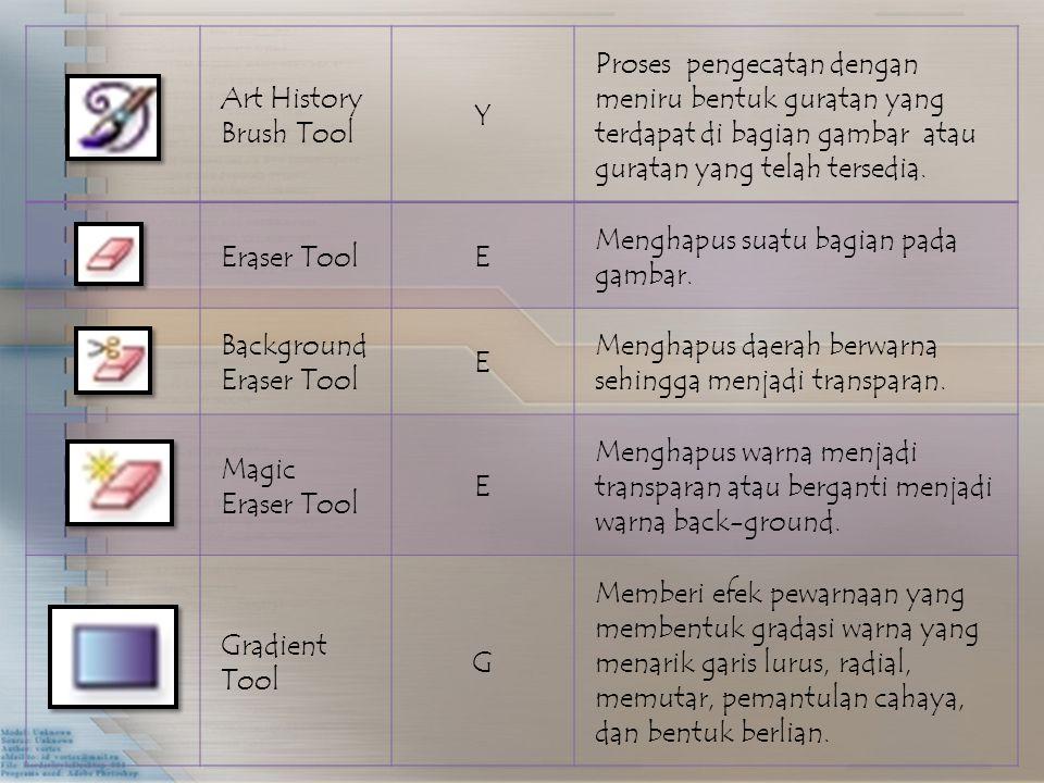 Art History Brush Tool Y Proses pengecatan dengan meniru bentuk guratan yang terdapat di bagian gambar atau guratan yang telah tersedia.
