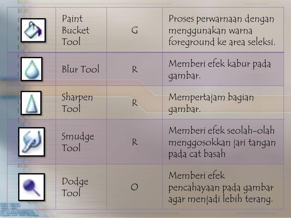 Paint Bucket Tool G Proses perwarnaan dengan menggunakan warna foreground ke area seleksi. Blur ToolR Memberi efek kabur pada gambar. Sharpen Tool R M