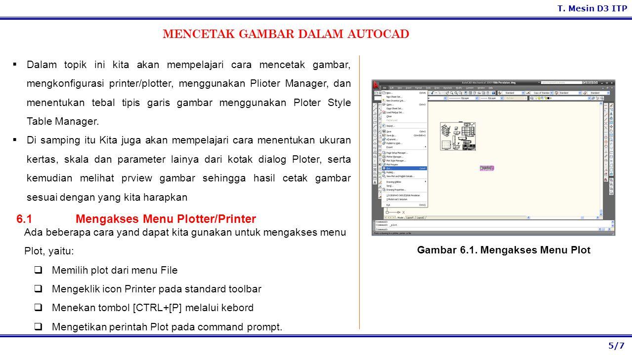 5/7 T. Mesin D3 ITP MENCETAK GAMBAR DALAM AUTOCAD  Dalam topik ini kita akan mempelajari cara mencetak gambar, mengkonfigurasi printer/plotter, mengg