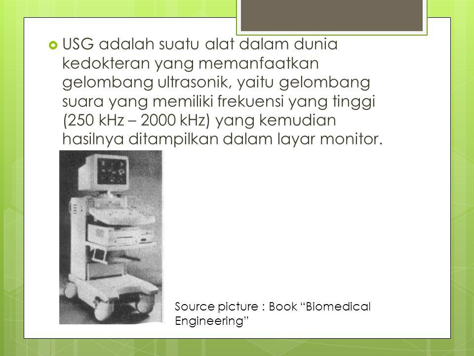  USG adalah suatu alat dalam dunia kedokteran yang memanfaatkan gelombang ultrasonik, yaitu gelombang suara yang memiliki frekuensi yang tinggi (250