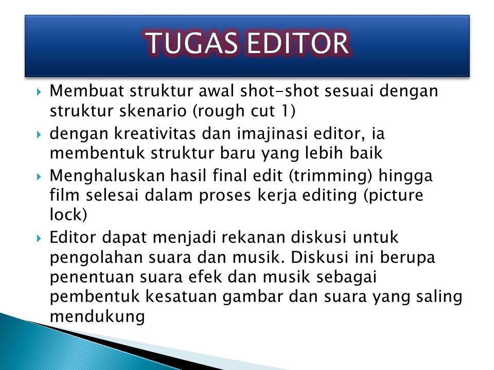 Editing/penyuntingan gambar adalah menyajikan suatu proses memilih shot dan menyusun rangkaian shot yang akhirnya menjadi satu cerita utuh. Shot demi