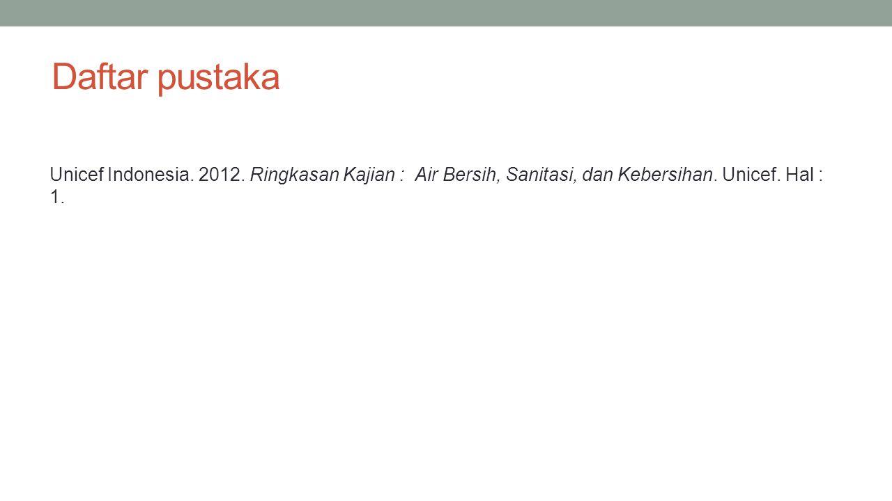 Daftar pustaka Unicef Indonesia. 2012. Ringkasan Kajian : Air Bersih, Sanitasi, dan Kebersihan. Unicef. Hal : 1.