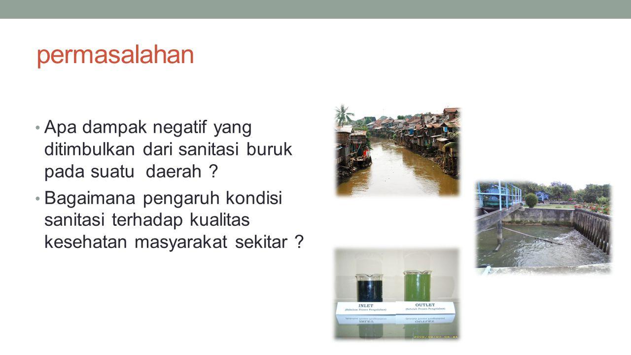 permasalahan Apa dampak negatif yang ditimbulkan dari sanitasi buruk pada suatu daerah ? Bagaimana pengaruh kondisi sanitasi terhadap kualitas kesehat