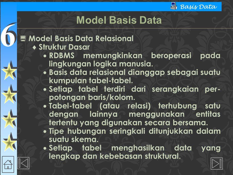 6 6 Basis Data  Model Basis Data Relasional  Struktur Dasar  RDBMS memungkinkan beroperasi pada lingkungan logika manusia.  Basis data relasional