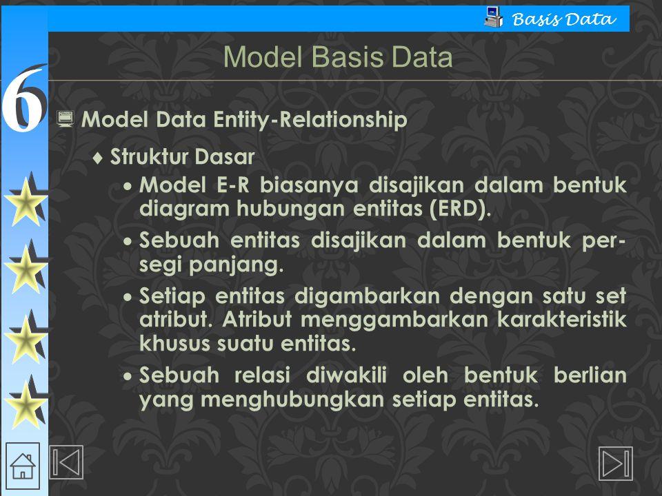 6 6 Basis Data  Model Data Entity-Relationship  Struktur Dasar  Model E-R biasanya disajikan dalam bentuk diagram hubungan entitas (ERD).  Sebuah