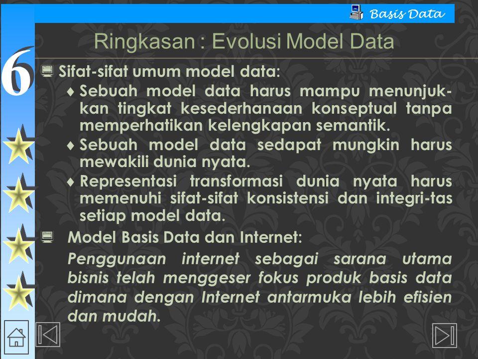 6 6 Basis Data  Sifat-sifat umum model data:  Sebuah model data harus mampu menunjuk- kan tingkat kesederhanaan konseptual tanpa memperhatikan kelen