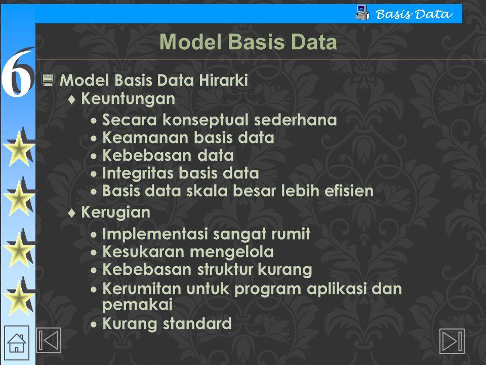 6 6 Basis Data  Model Basis Data Hirarki  Keuntungan  Secara konseptual sederhana  Keamanan basis data  Kebebasan data  Integritas basis data 