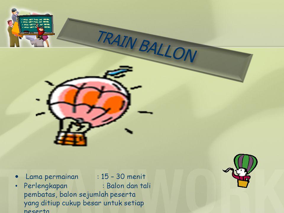  Lama permainan : 15 – 30 menit Perlengkapan : Balon dan tali pembatas, balon sejumlah peserta yang ditiup cukup besar untuk setiap peserta