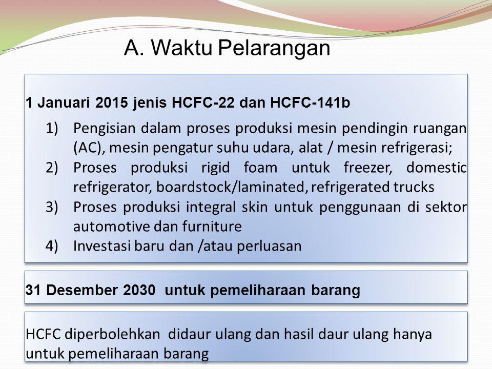 1 Januari 2015 jenis HCFC-22 dan HCFC-141b 1)Pengisian dalam proses produksi mesin pendingin ruangan (AC), mesin pengatur suhu udara, alat / mesin ref