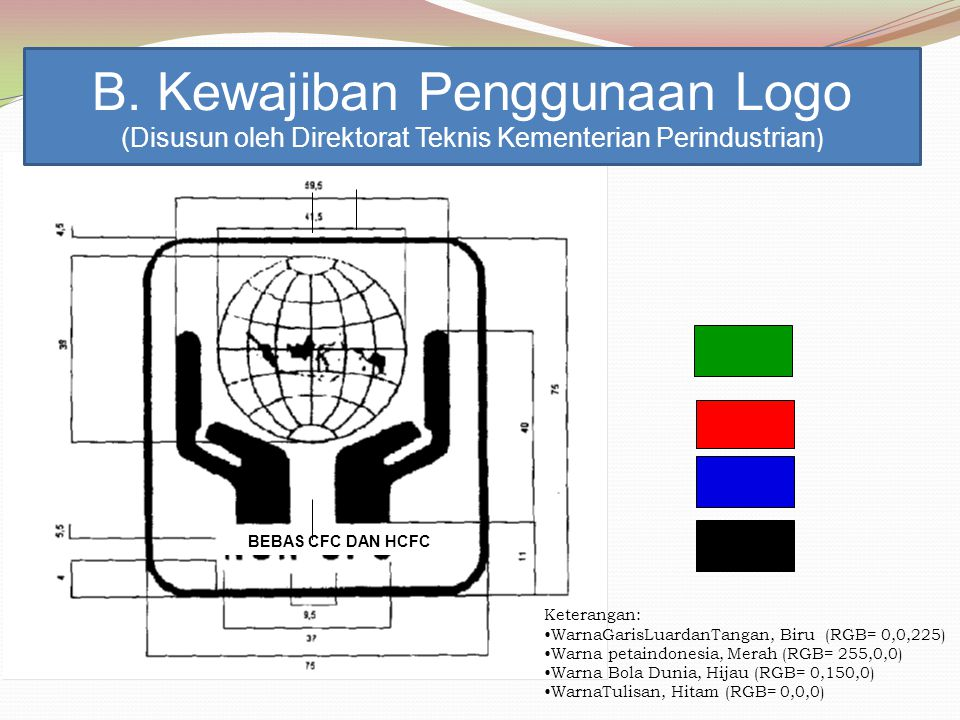BEBAS CFC DAN HCFC Keterangan: WarnaGarisLuardanTangan, Biru (RGB= 0,0,225) Warna petaindonesia, Merah (RGB= 255,0,0) Warna Bola Dunia, Hijau (RGB= 0,