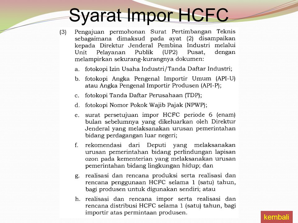 kembali Syarat Impor HCFC