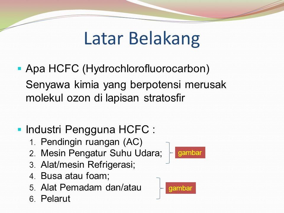 Kegiatan Industri pengguna HCFC Penipisan Lapisan Ozon (lubang ozon) (HCFC 22 dan HCFC 141b) Nilai Ozon Depleting Potential (ODP) antara 0,02-0,1 Nilai Global Warming Potential (GWP) HCFC 22 1780 per 100 tahun, HCFC 141b = 725 per100 tahun Penghapusan HCFC22 dan HCFC 141b -Pengaturan & -Strategi 1.HPMP 2.Kebijakan 3.Insentif gambar Kriteria yang layak digunakan : Nilai ODP = 0, Nilai GWP low (lebih rendah dari HCFC 22 dan HCFC 141b)