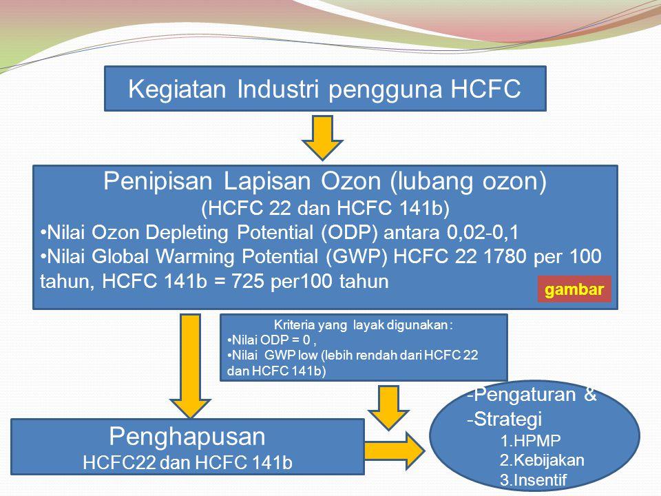 Kegiatan Industri pengguna HCFC Penipisan Lapisan Ozon (lubang ozon) (HCFC 22 dan HCFC 141b) Nilai Ozon Depleting Potential (ODP) antara 0,02-0,1 Nila