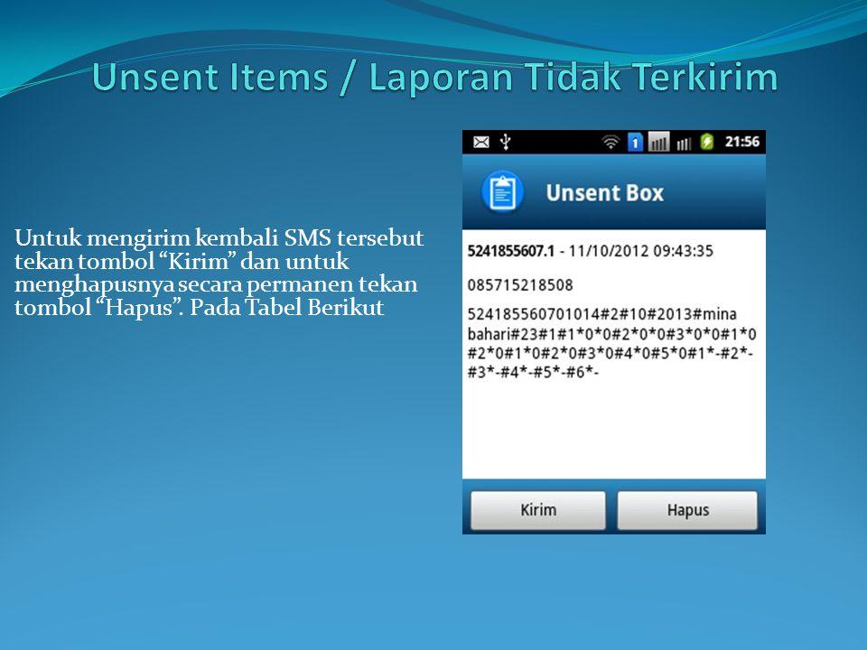 Untuk mengirim kembali SMS tersebut tekan tombol Kirim dan untuk menghapusnya secara permanen tekan tombol Hapus .