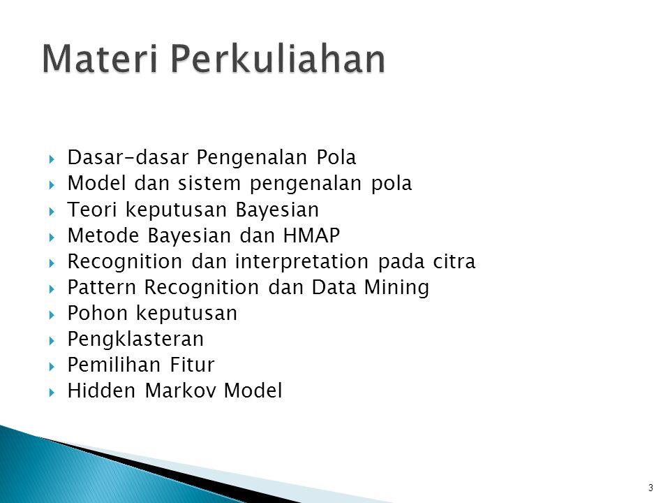  Dasar-dasar Pengenalan Pola  Model dan sistem pengenalan pola  Teori keputusan Bayesian  Metode Bayesian dan HMAP  Recognition dan interpretatio