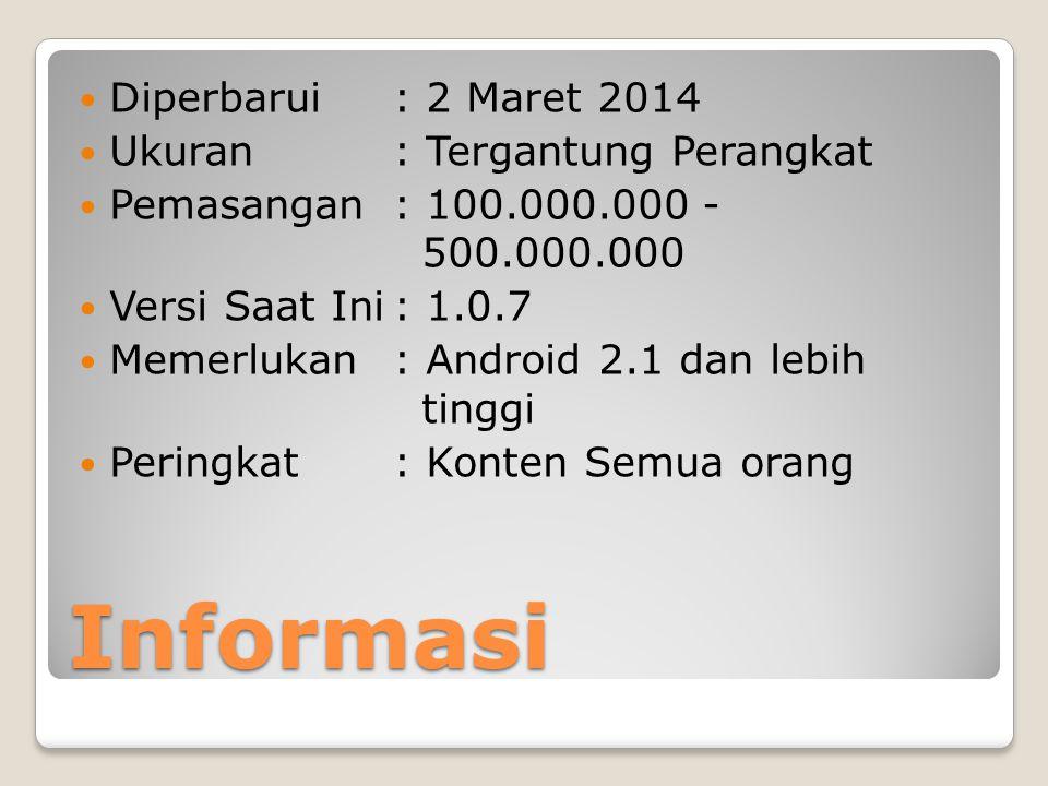 Informasi Diperbarui : 2 Maret 2014 Ukuran : Tergantung Perangkat Pemasangan : 100.000.000 - 500.000.000 Versi Saat Ini: 1.0.7 Memerlukan: Android 2.1 dan lebih tinggi Peringkat: Konten Semua orang