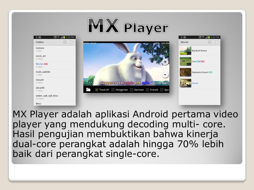 MX Player adalah aplikasi Android pertama video player yang mendukung decoding multi- core.