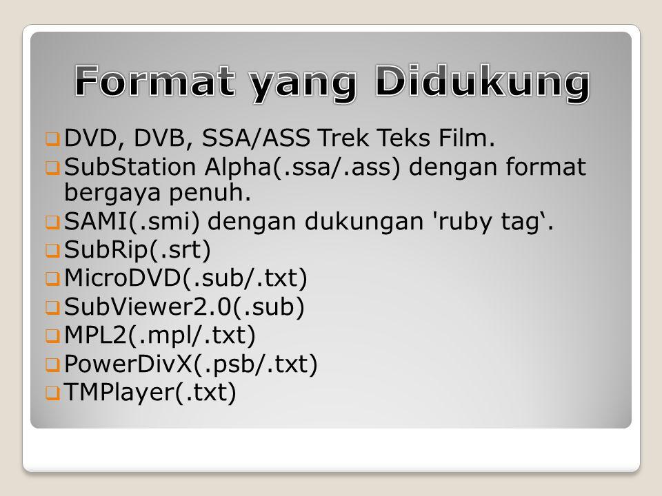  DVD, DVB, SSA/ASS Trek Teks Film.  SubStation Alpha(.ssa/.ass) dengan format bergaya penuh.