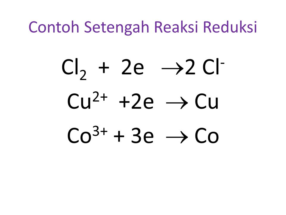 Contoh Setengah Reaksi Reduksi Cl 2 + 2e  2 Cl - Cu 2+ +2e  Cu Co 3+ + 3e  Co