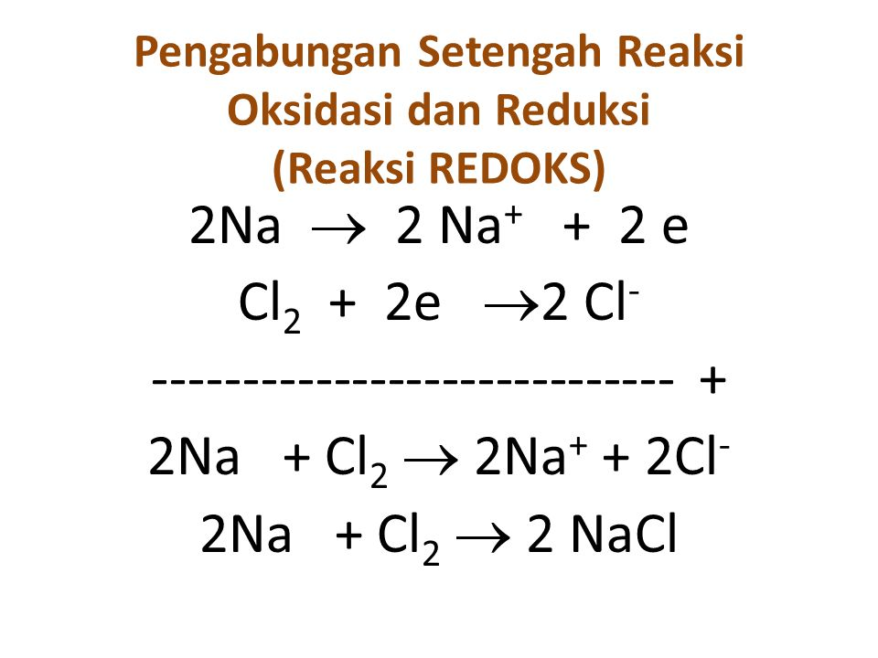 Pengabungan Setengah Reaksi Oksidasi dan Reduksi (Reaksi REDOKS) 2Na  2 Na + + 2 e Cl 2 + 2e  2 Cl - ----------------------------- + 2Na + Cl 2  2Na + + 2Cl - 2Na + Cl 2  2 NaCl
